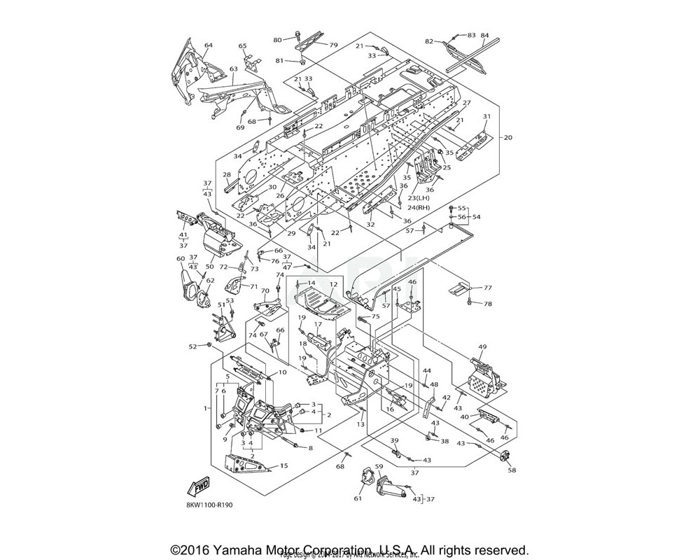 Yamaha OEM 8FN-2194E-00-00 BRACKET, ENGINE