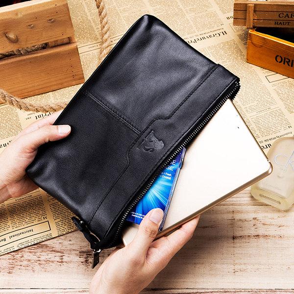 Genuine Leather Vintage Large Capacity Multi-functional Phone Bag Clutch Bag For Men