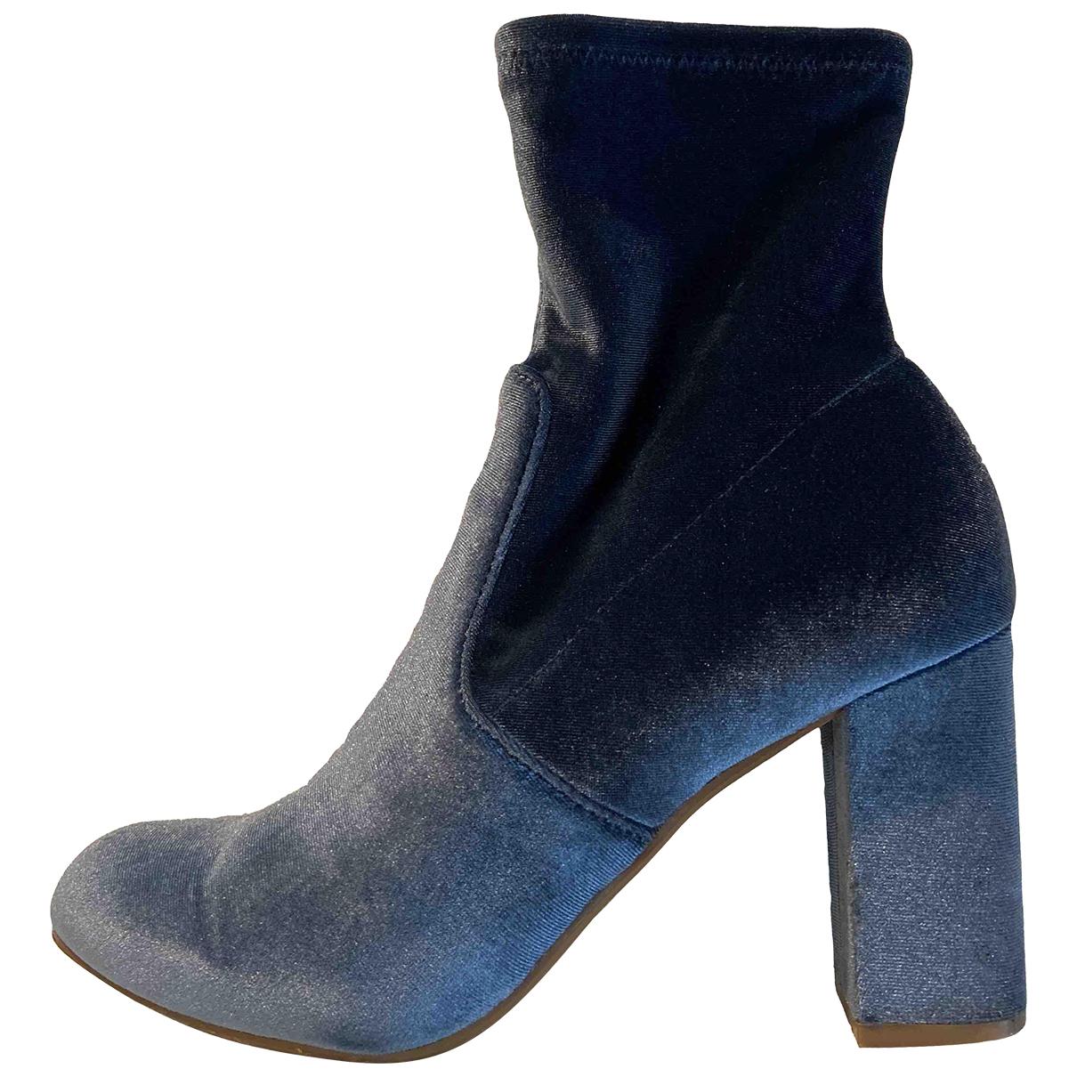 Steve Madden \N Blue Velvet Ankle boots for Women 38.5 EU