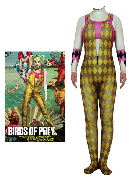 Milanoo Harley Quinn Jumpsuit Birds Of Prey Lycra Spandex Zentai Suit