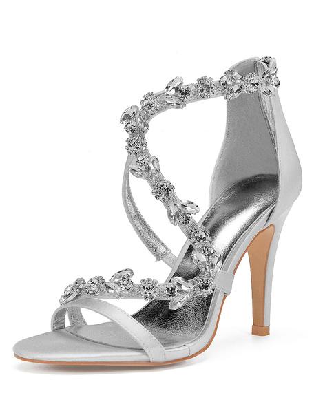 Milanoo Satin Wedding Shoes Purple Open Toe Rhinestones Zip Up Strappy High Heel Bridal Shoes