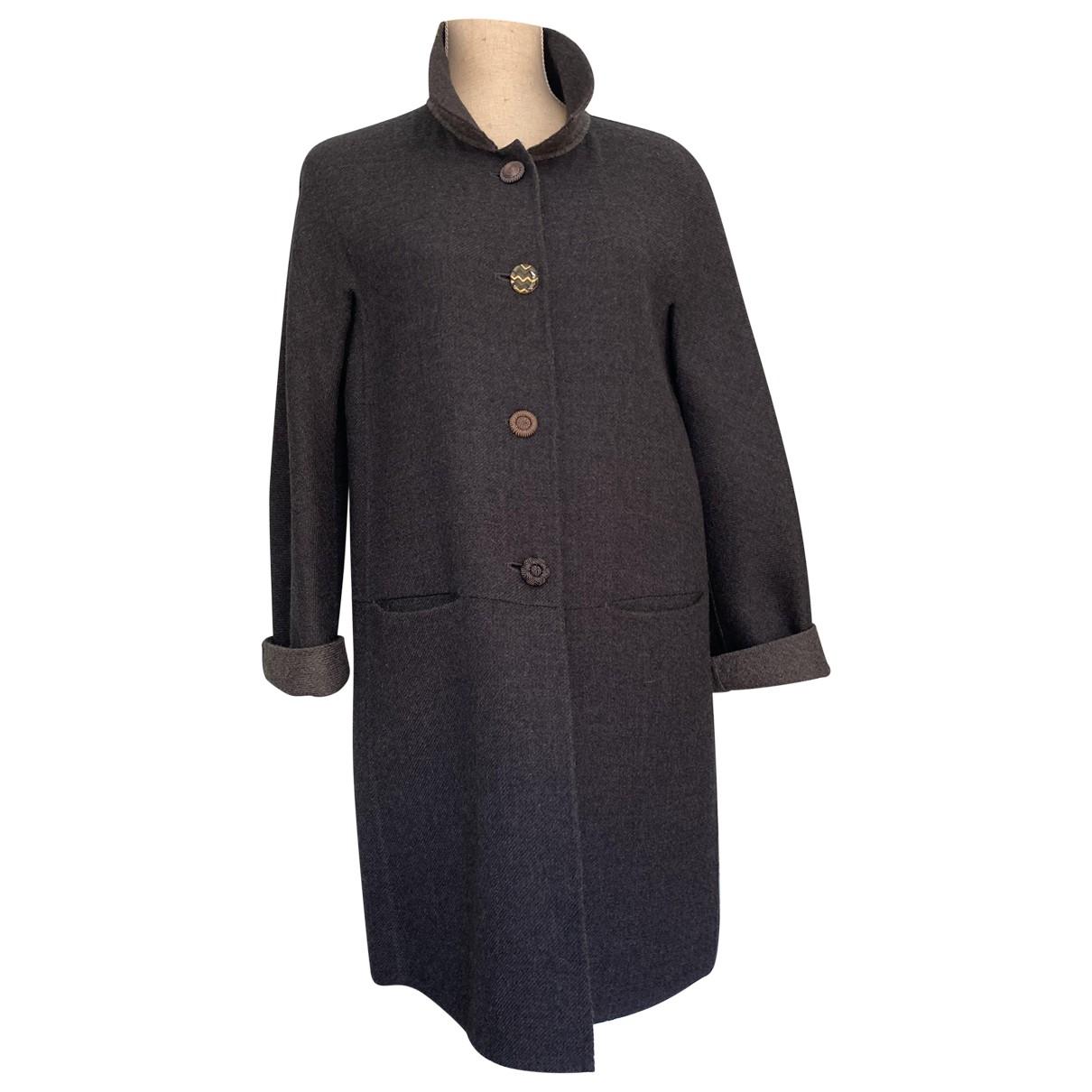 Dkny \N Grey Wool coat for Women 42 IT