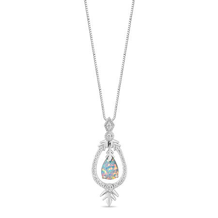 Enchanted Disney Fine Jewelry Frozen 2 Womens 1/6 CT. T.W. Lab Created White Opal Sterling Silver Disney Princess Pendant Necklace, One Size , No