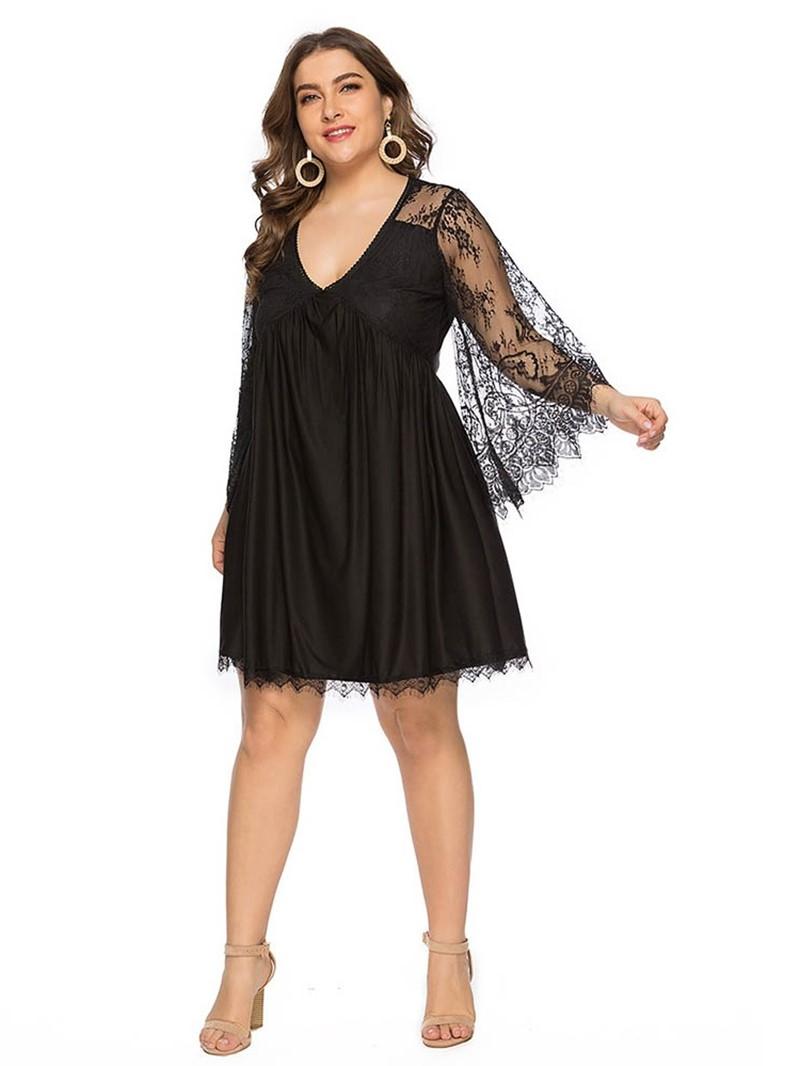 Ericdress Plus Size Nine Points Sleeve Lace Above Knee Plain High Waist Dress