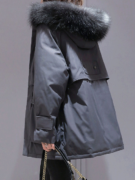 Milanoo Coat For Woman Long Sleeves Blue Pockets Parka Casual Winter Coat