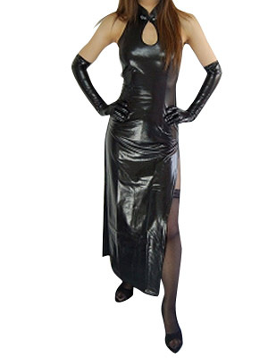 Milanoo Halloween Black Sleeveless Shiny Metallic Split Maxi Dress