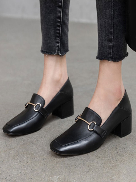Milanoo Black PU Leather Loafers Square Toe Metal Details Casual Shoes Women\'s Shoes