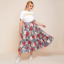Plus Letter Graphic Top & Pleated Floral Skirt Set