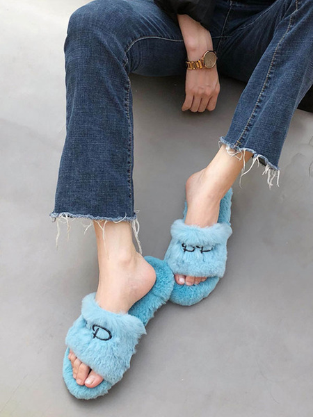 Milanoo Women Faux Fur Slippers Blue Open Toe Winter Slide Shoes