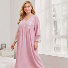 Plus Bow Front Embroidered Mesh Trim Nightdress