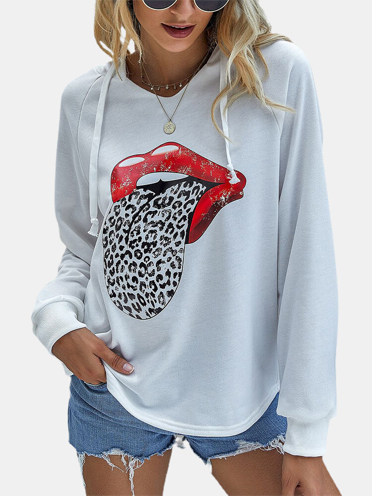 Leopard Print Long Sleeves Hoodies For Women