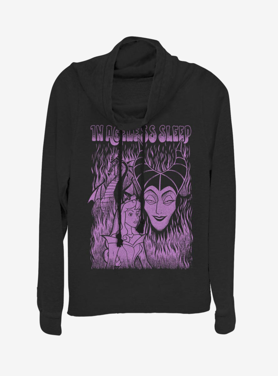 Disney Sleeping Beauty Maleficent Ageless Sleep Cowlneck Long-Sleeve Womens Top