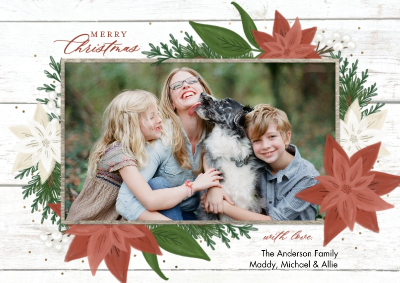 Christmas Photo Cards 5x7 Cards, Premium Cardstock 120lb with Scalloped Corners, Card & Stationery -Christmas Rustic Poinsettias by Tumbalina
