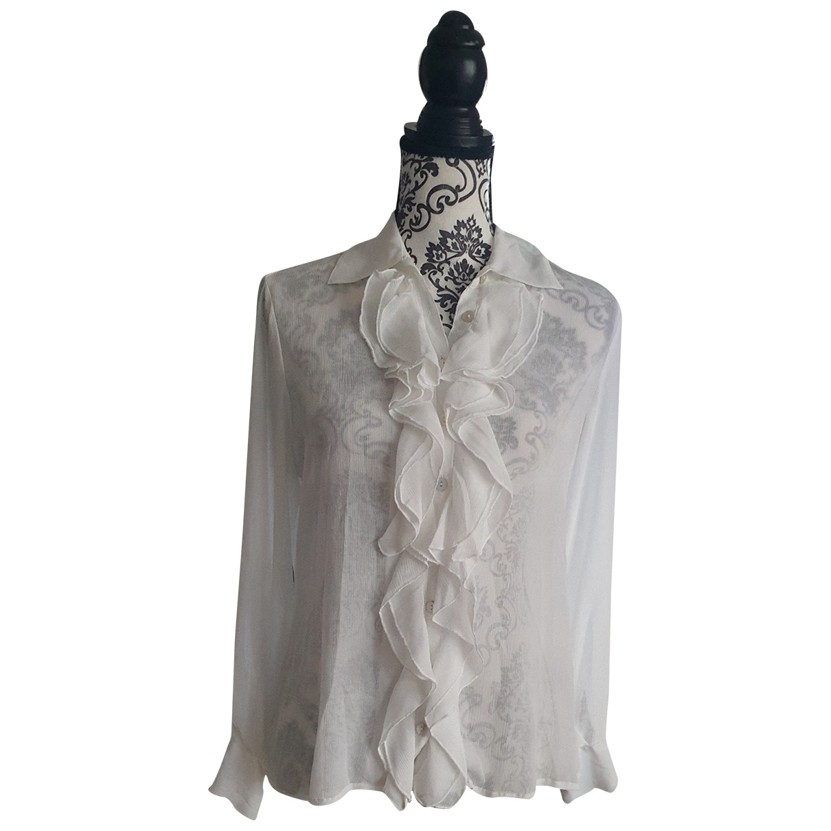 Non Signé / Unsigned \N White Silk  top for Women 40 FR