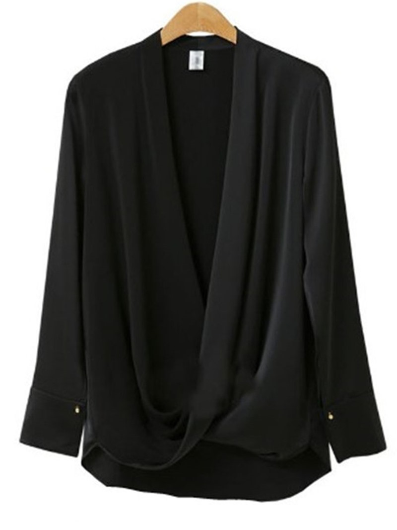Ericdress Plus Size Plain Regular V-Neck Long Sleeve Standard Blouse