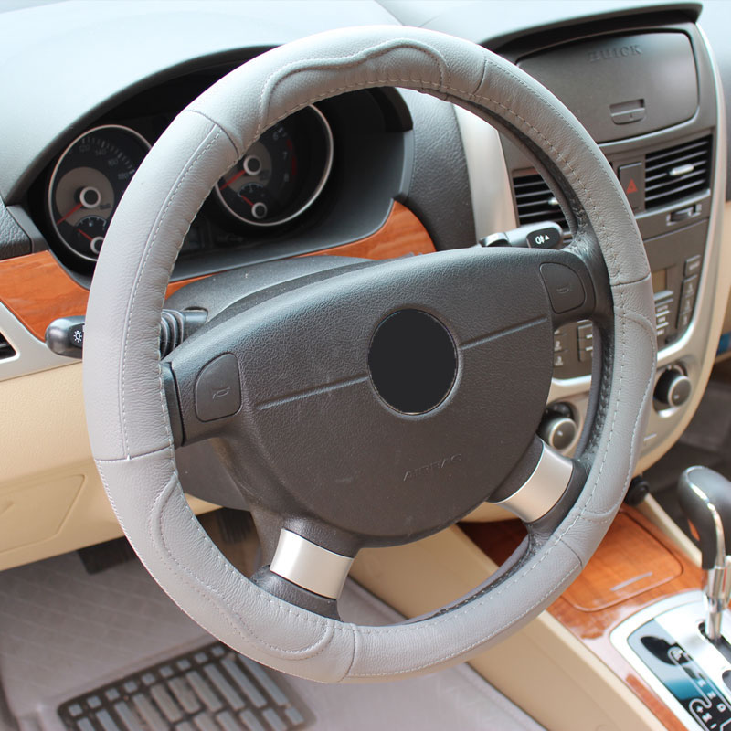 Simple Style Plain Pattern Leather Steering Wheel Cover
