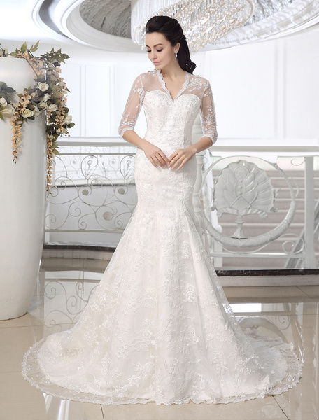 Milanoo Ivory Mermaid V-Neck Lace Court Train Bridal Wedding Dress