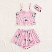 Girls Striped And Rabbit Print Cami PJ Set & Eye Cover