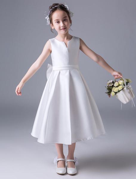 Milanoo Flower Girl Dresses Satin Ivory A Line Bows Sash Pleated Kids Tea Length Party Dresses