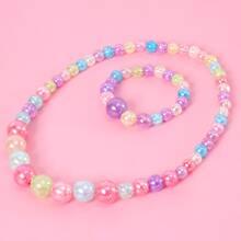 2pcs Girls Colorful Beaded Necklace & Bracelet