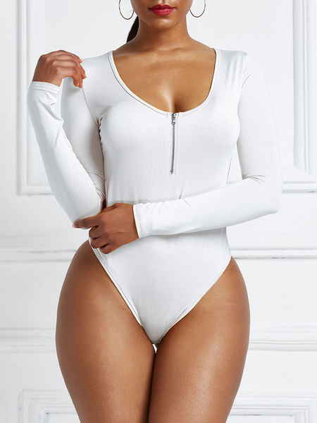 Milanoo Women Jumpsuit Cupless Long Sleeves Round Neck White Polyester Women Top
