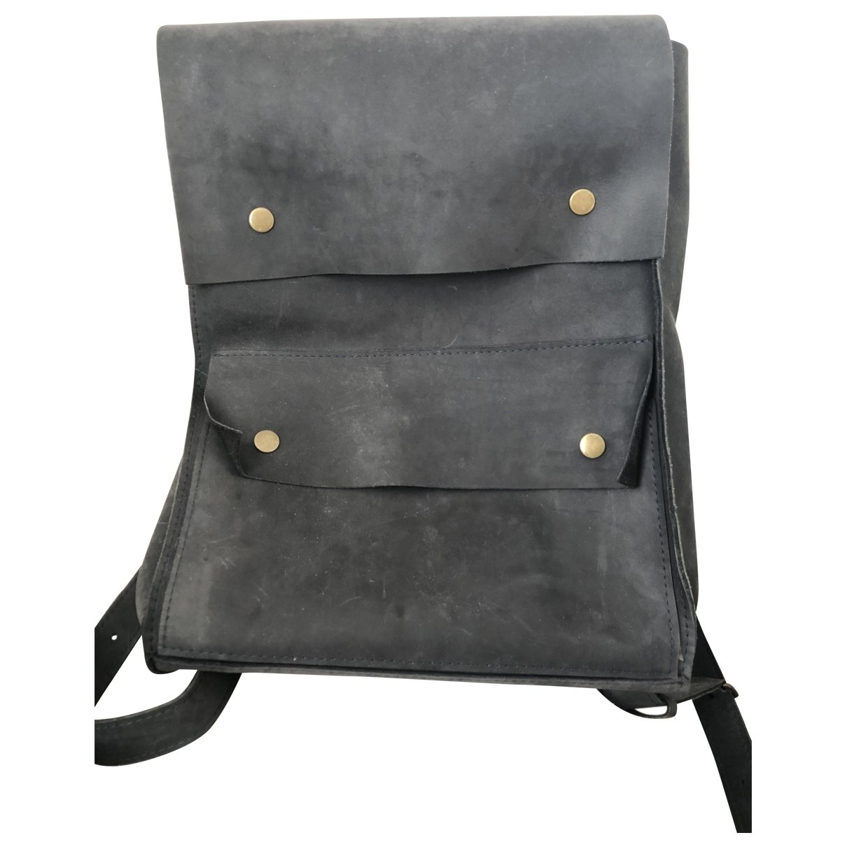 Non Signé / Unsigned \N Anthracite Leather backpack for Women \N