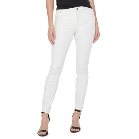 Bold Elements Womens Mid Rise Skinny Fit Jean, 16 , White