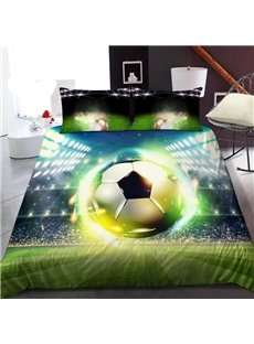 Luminous Soccer on The Soccer Field 3D Printed Polyester 1-Piece Warm Quilt
