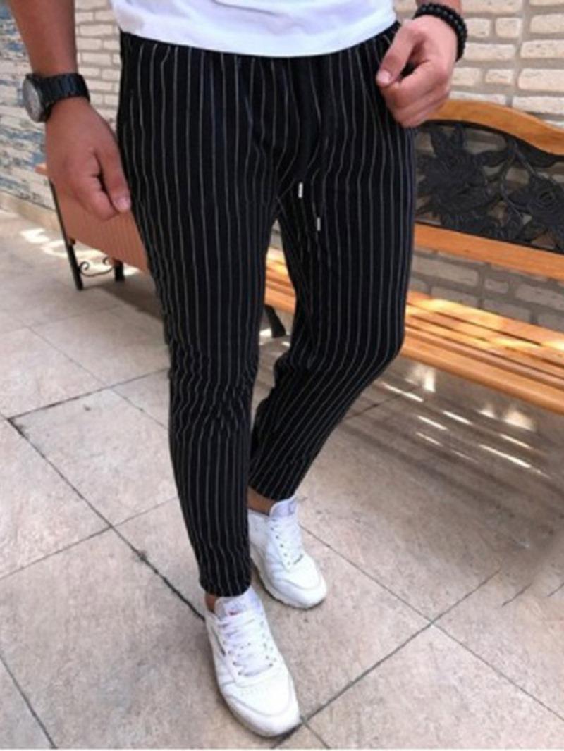 Ericdress Stripe Pencil Lace-Up Men's Casual Pants