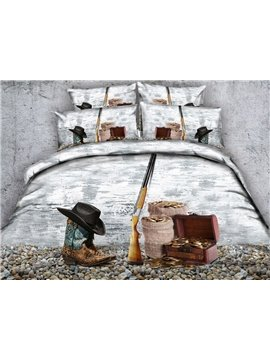 Cowboy Hat and Gun Printed 4-Piece 3D Bedding Sets/Duvet Covers
