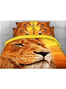 The Lion Staring Into The Distance 3D Printed 4-Piece Polyester Bedding Sets/Duvet Covers