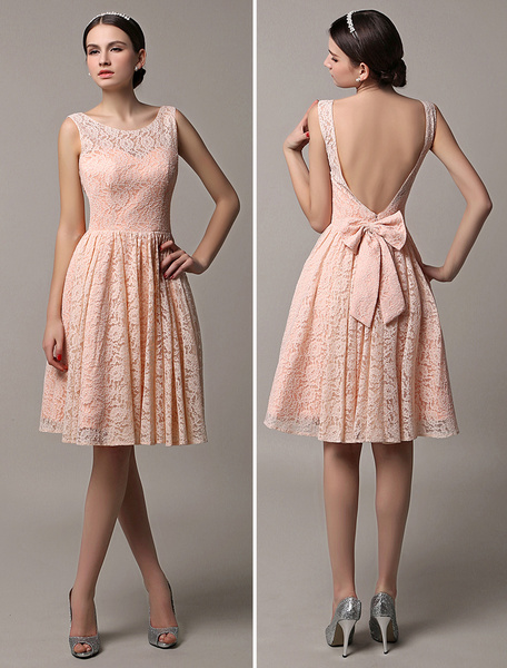 Milanoo 2020 Blush Pink Short Lace Illusion Scoop Back Bridesmaid Dress With Bow Wedding Guest Dress