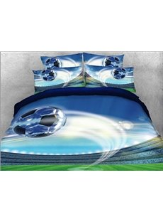 Vivilinen Flying Soccer Ball Printed Cotton 4-Piece 3D Bedding Sets/Duvet Covers