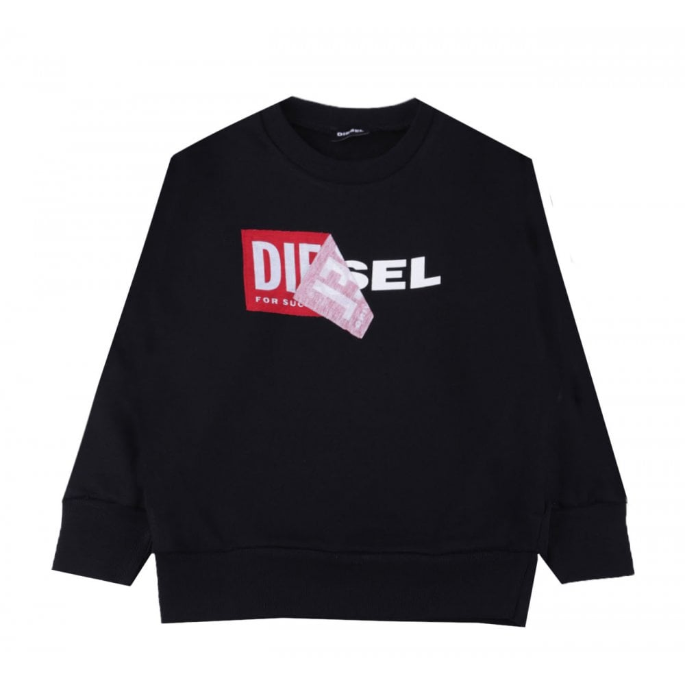 Diesel Double Tape Sweater Colour: BLACK, Size: 12 YEARS