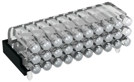 Mentor GmbH 1296.2103 MENTOR, PCB Mounted 30-Way Right Angle LED Light Pipe, Tri-Level-Row Clear Dome Lens