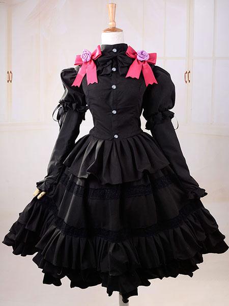 Milanoo Date A Live Tokisaki Kurumi Halloween Cosplay Costume Gothic Lolita Dress Halloween