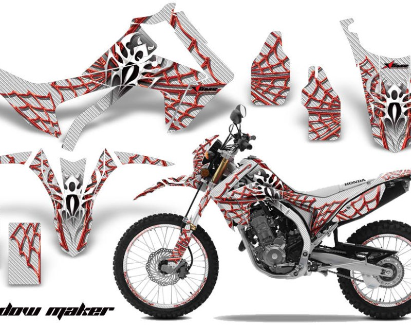 AMR Racing Graphics MX-NP-HON-CRF250L-13-16-WM R W Kit Decal Sticker Wrap + # Plates For Honda CRF250L 2013-2016áWIDOW RED WHITE