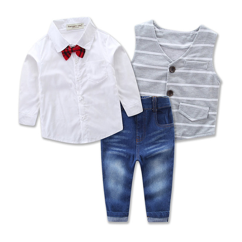 3Pcs Toddlers Boys Formal Shirt + Vest Coat + Long Jeans Pants Clothes Sets For 1Y-9Y