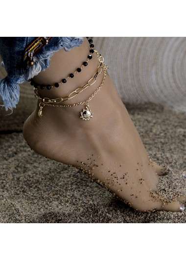 Mother's Day Gifts Bead Embellished Gold Metal Anklet Set for Women - One Size