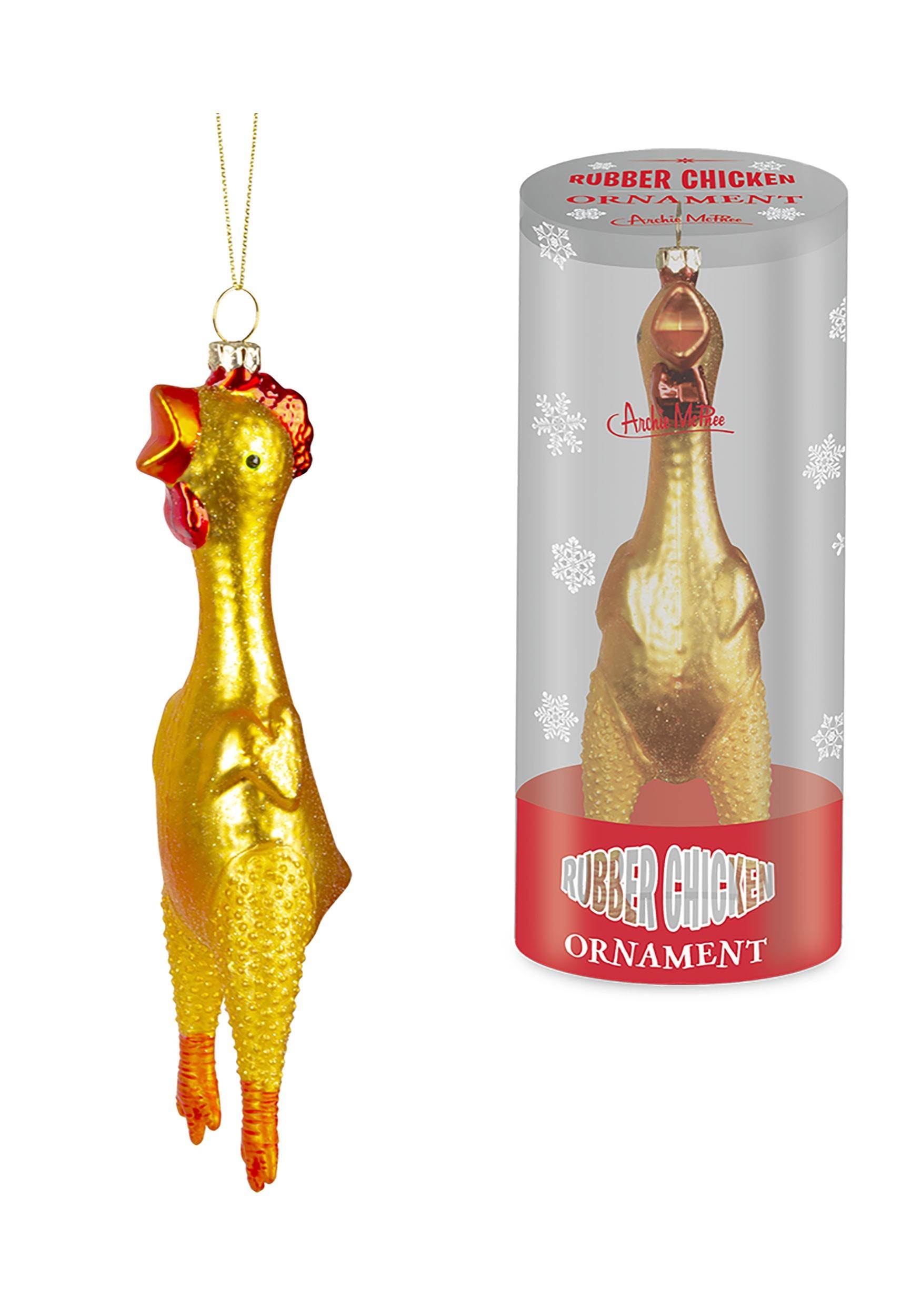 Glass Ornament Rubber Chicken