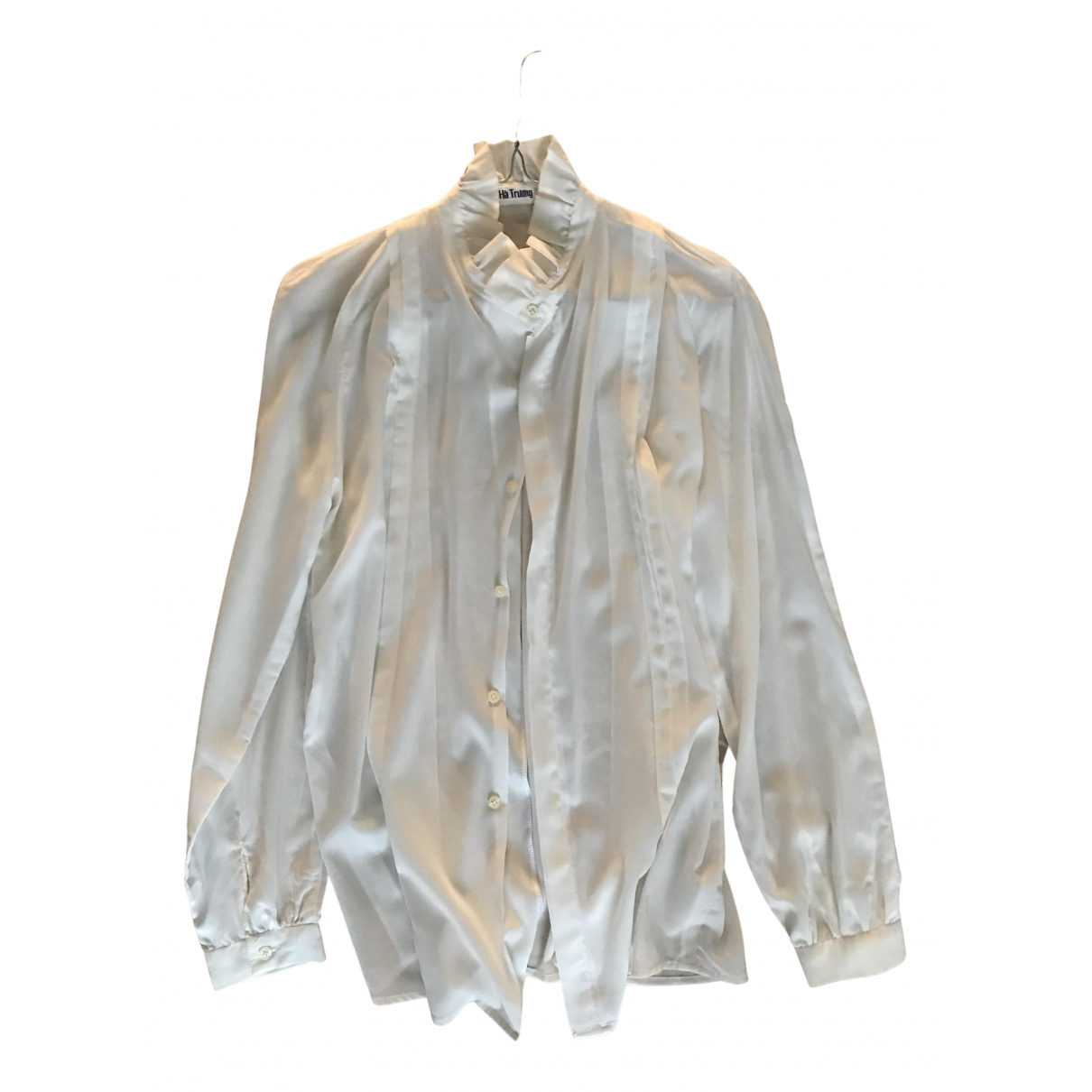 Non Signé / Unsigned \N White Silk  top for Women 42 IT