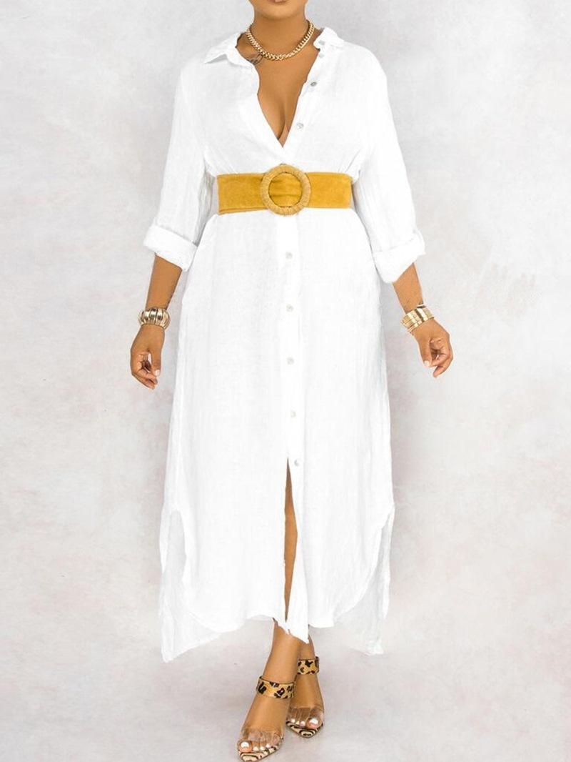 Ericdress Ankle-Length Split Long Sleeve Casual Plain Dress