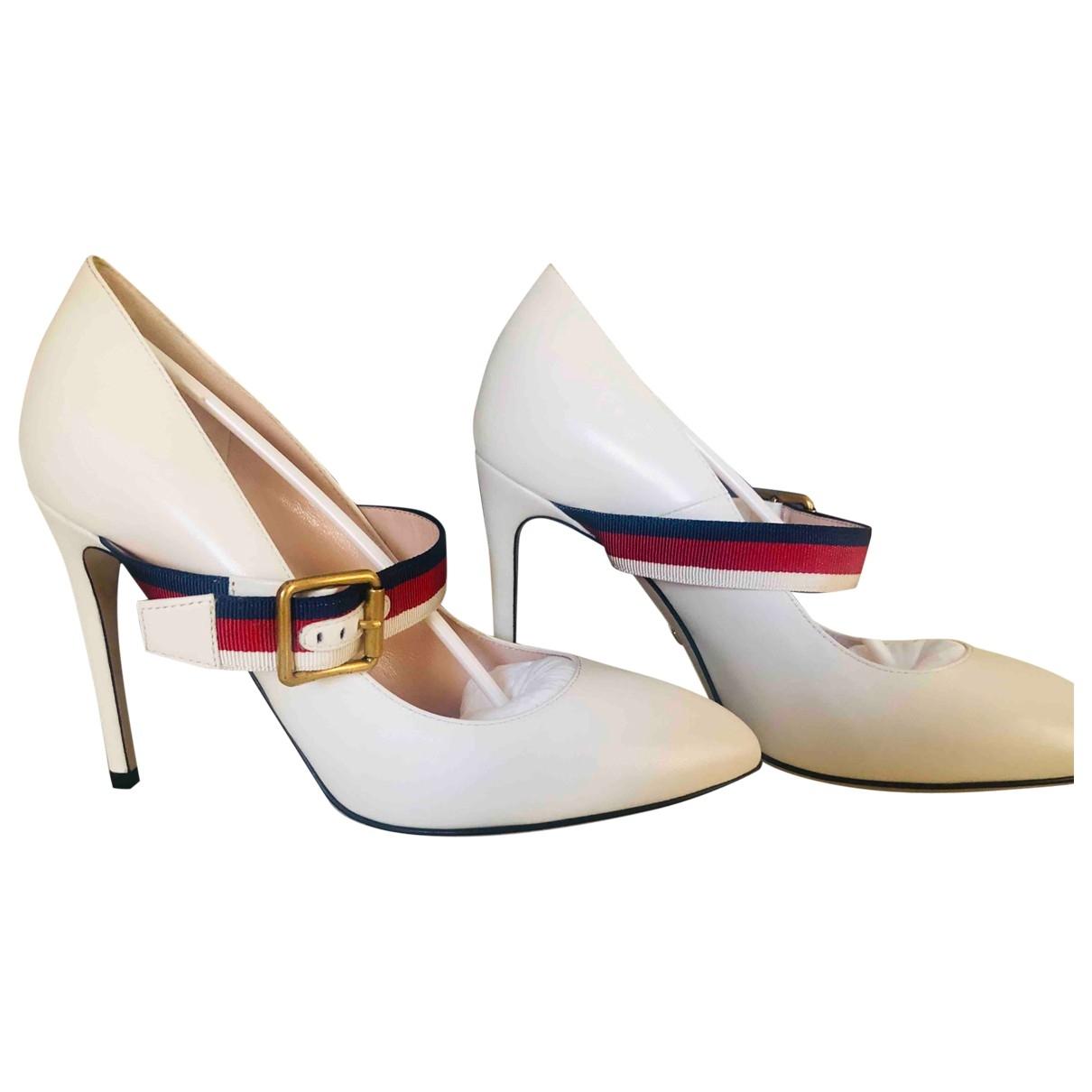 Gucci Sylvie Beige Leather Heels for Women 36.5 EU