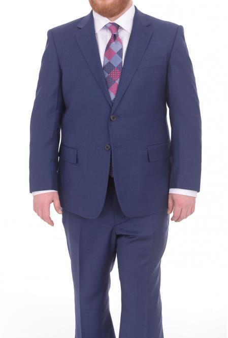 Mens Fully Lined Blue Textured Portly Fit 2Button Super 130's WoolSuit