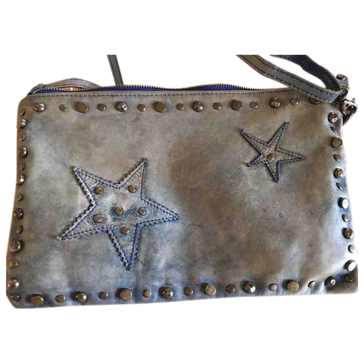 Non Signé / Unsigned Hippie Chic Blue Leather Clutch bag for Women \N