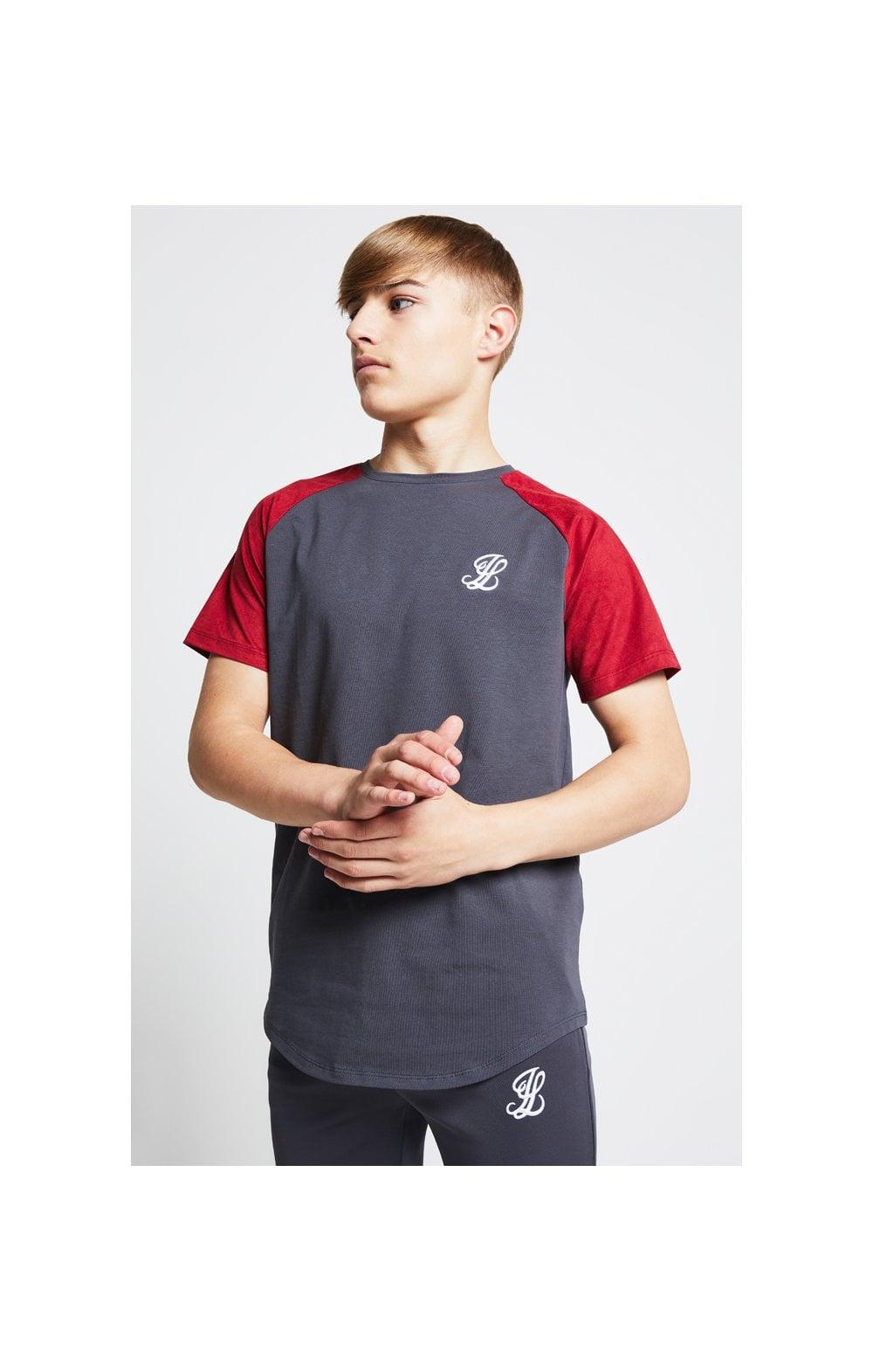 Illusive London Raglan Tee - Grey & Pink Kids Top Sizes: 11-12 YRS
