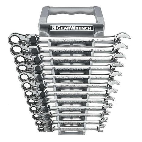 GearWrench Locking Flex Combination Ratcheting Wrench Set, 12 Pc. XL Metric