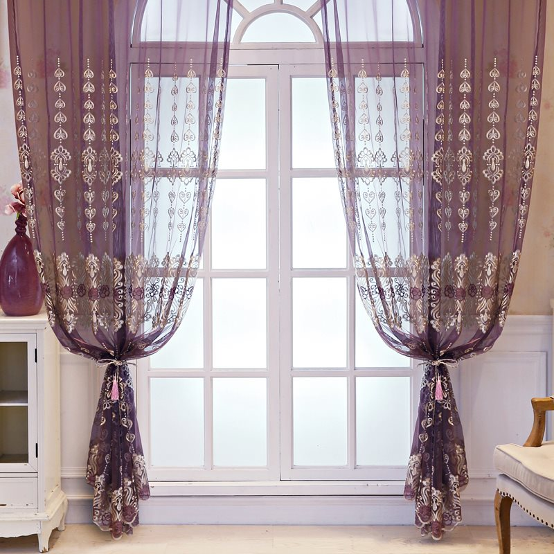 Romantic and Dreamlike Decorative Purple Semi Custom Sheer Curtains for Living Room Bedroom