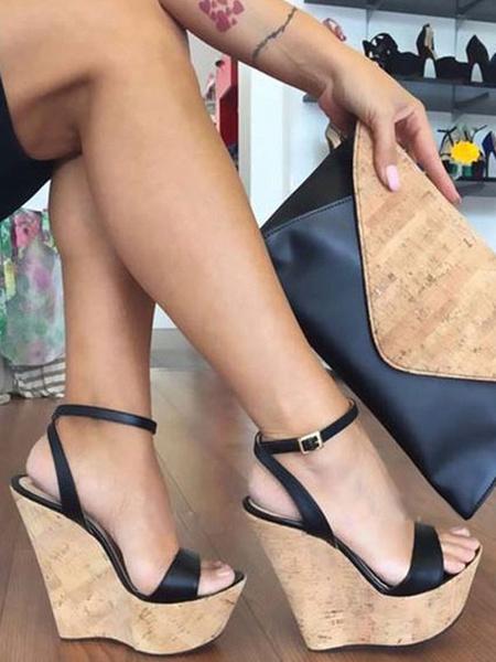 Milanoo Black Wedge Sandals Open Toe Buckle Detail Ankle Strap Platform Heels Sandals