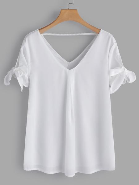Yoins White Backless Design V-neck Short Sleeves T-shirts